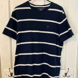 Tommy Hilfiger Blue White Stripped T-Shirt - Large